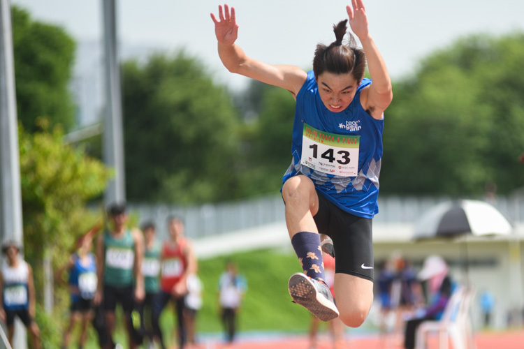 Dyfrig Lim of Ngee Ann Polytechnic competing in the Men's Triple Jump Open event. (Photo © Stefanus Ian/Red Sports)