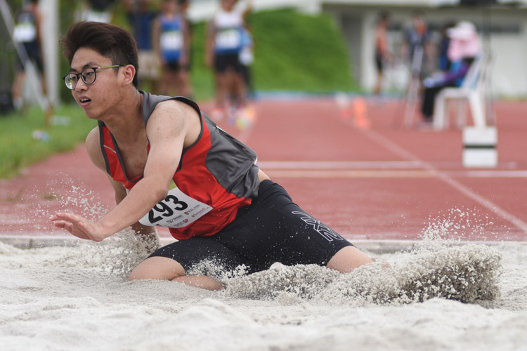 Chuan Ding Zu of Temasek Polytechnic competing in the Men's Triple Jump Open event. (Photo © Stefanus Ian/Red Sports)
