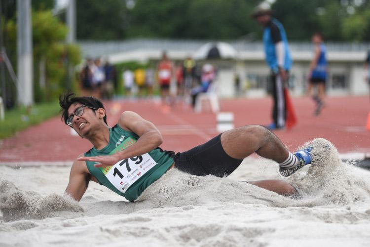 Arfan Bin Azhar of Republic Polytechnic competing in the Men's Triple Jump Open event. (Photo © Stefanus Ian/Red Sports)