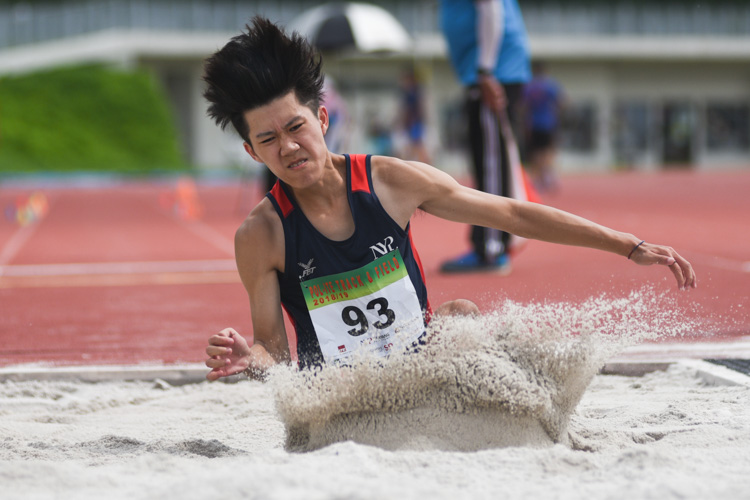 Ian Seow of Nanyang Polytechnic competing in the Men's Triple Jump Open event. (Photo © Stefanus Ian/Red Sports)