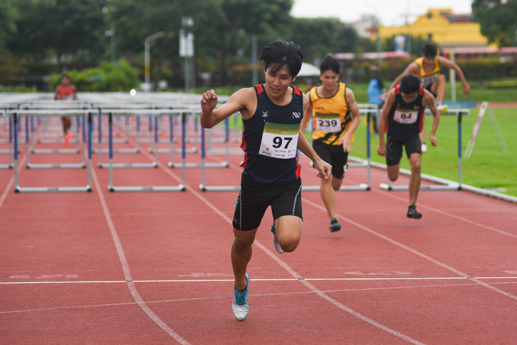 Isaac Toh of NYP coming in first to secure his second hurdles gold during the 2018 POL-ITE 110m hurdles race. (Photo 1 © Stefanus Ian/Red Sports)