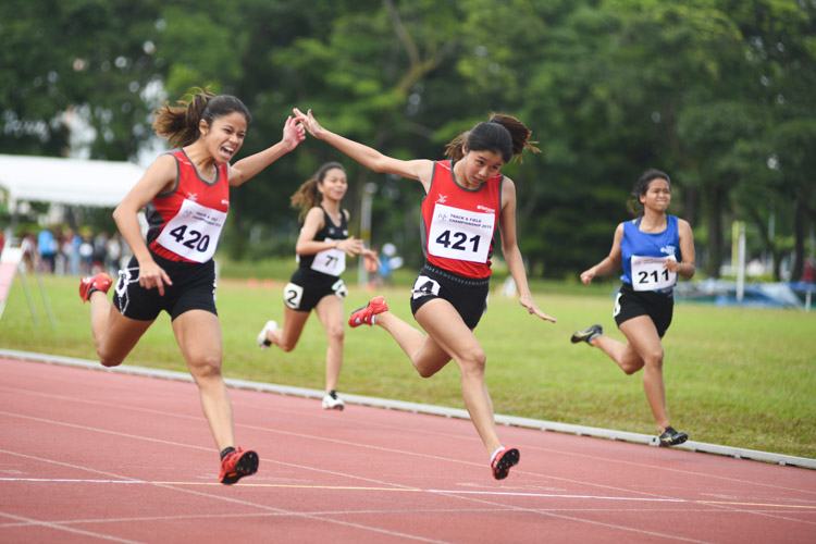 Temasek Polytechnic clinched a 1-2 finish in the IVP 100m Women's event with Haanee bte Hamkah (#420) edging her teammate Clara Goh (#421) to win gold with a time of 12.66s.  (Photo 1 © Stefanus Ian/Red Sports)