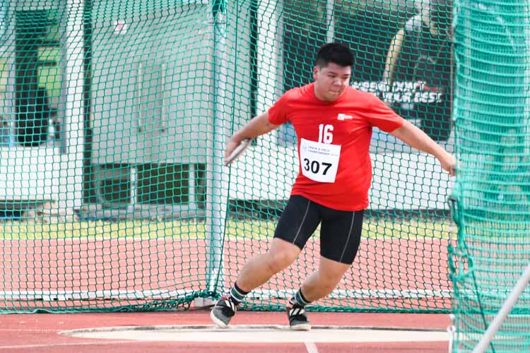 Caleb Hoe of SIT finished fourth in the men's discus throw open at 32.27m. (Photo 14 © Stefanus Ian/Red Sports)