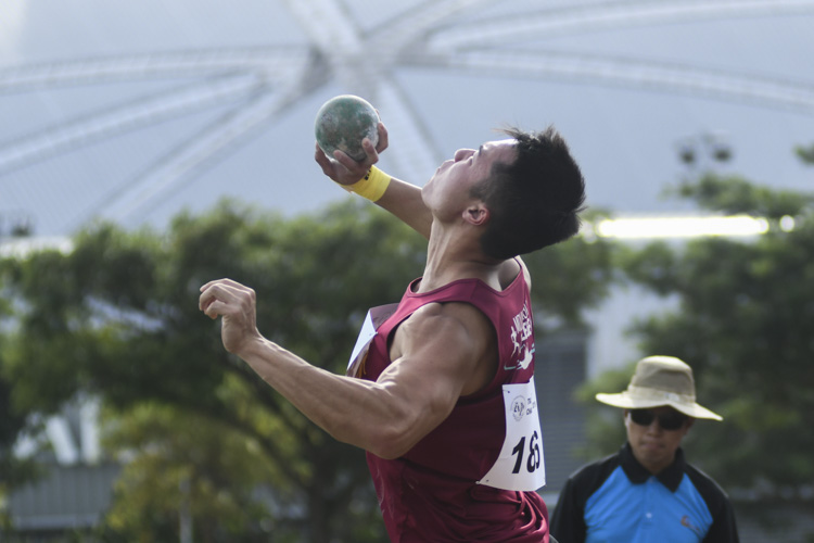 Brian See of NUS broke the IVP record and defended his Men's Shot Put title with a final throw of 14.14m (Photo 1 © Stefanus ian/Red Sports)