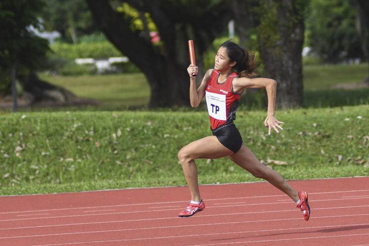 Clara Goh of Temasek Polytechnic running the third leg of the Women's 4x100m relay. TP won the race with a time of 50.76s. (Photo 3 © Stefanus Ian/Red Sports)