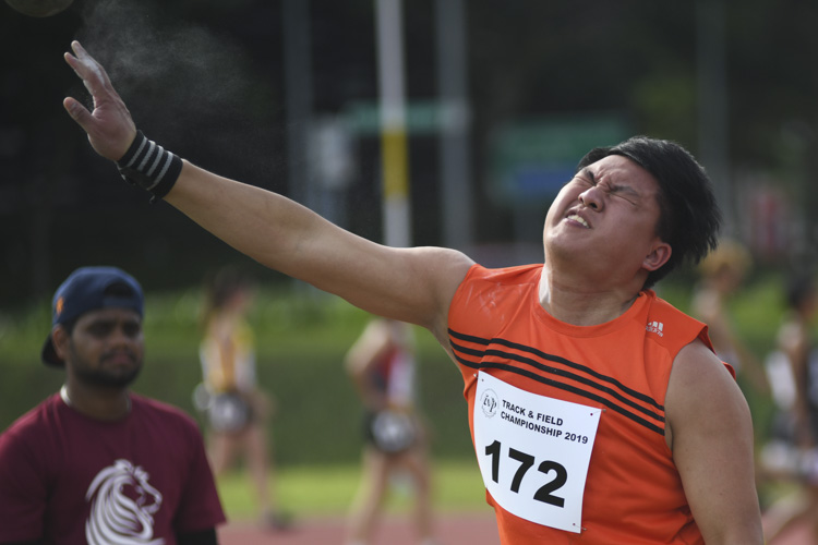 Bryan Koh of NUS clinched silver in the IVP Men's Shot Put event with a final throw distance of 12.70m. (Photo 1 © Stefanus ian/Red Sports)