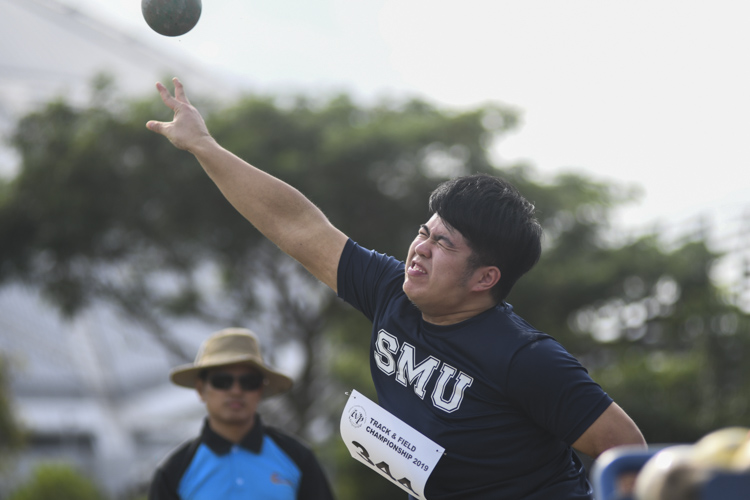 Andre Yap of SMU finished 11th in the IVP Men's Shot Put event with a final throw distance of 8.47m. (Photo 1 © Stefanus ian/Red Sports)