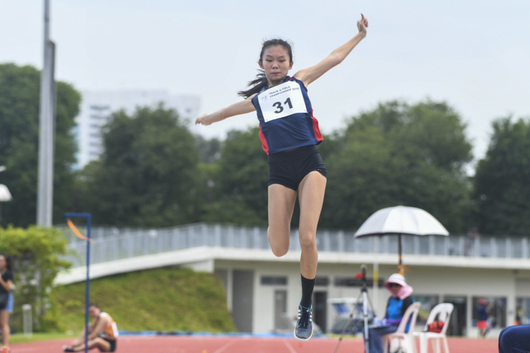 Wang Kai Qing of NYP clinched the silver medal in the Women's Long Jump event with a final distance of 4.74m. (Photo 1 © Stefanus Ian/Red Sports)