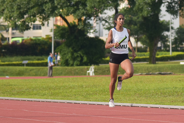 Shanti Pereira made things interesting in the women's 4x400m relay final when she opened up a huge lead for SMU in the second leg. (Photo 5 © Stefanus Ian/Red Sports)