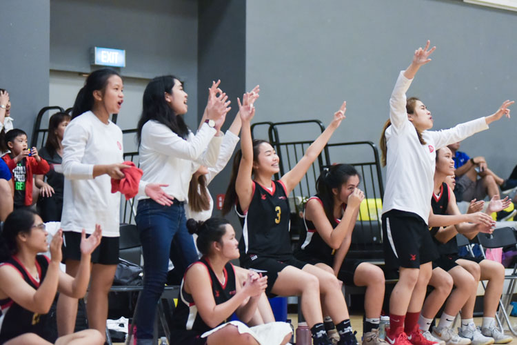 The TP bench celebrating a 3-pointer. SP beat TP 60-50 to clinch third place in the IVP Women's Basketball Championship. (Photo 8 © Iman Hashim/Red Sports)
