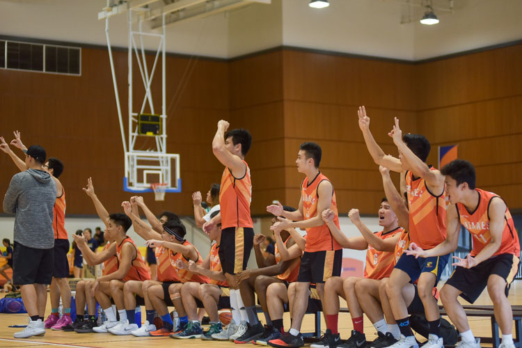 The Sheares bench cheer a 3-pointer. (Photo 10 © Iman Hashim/Red Sports)