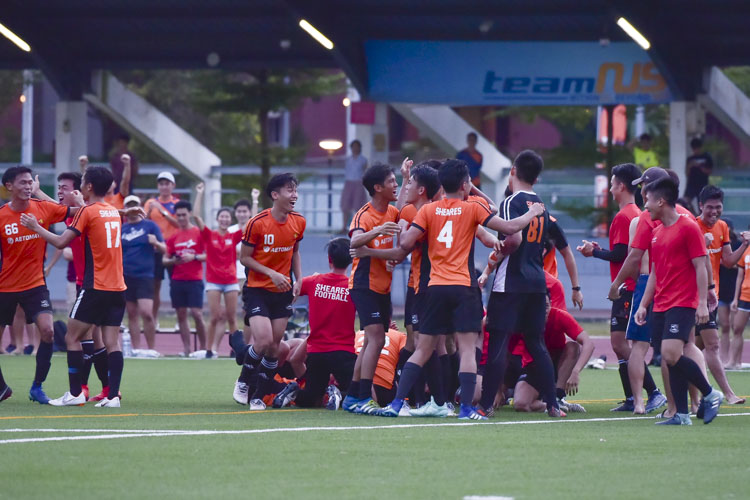 The Sheares team celebrates after the penalty shootout win. (Photo 26 © Iman Hashim/Red Sports)