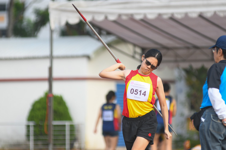 Khor Whey Yinn of Hwa Chong Institution finished sixth the A Division Javelin event with a final distance of 20.65m. (Photo 1 © Stefanus Ian/Red Sports)