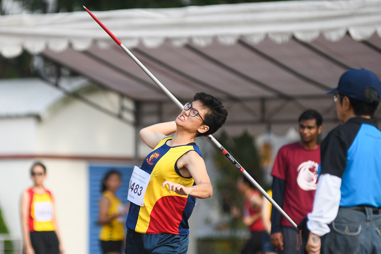 Ng Qi Lin of ACJC finished fourth in the A Division Javelin event with a distance of 25.86m. (Photo 1 © Stefanus Ian/Red Sports)