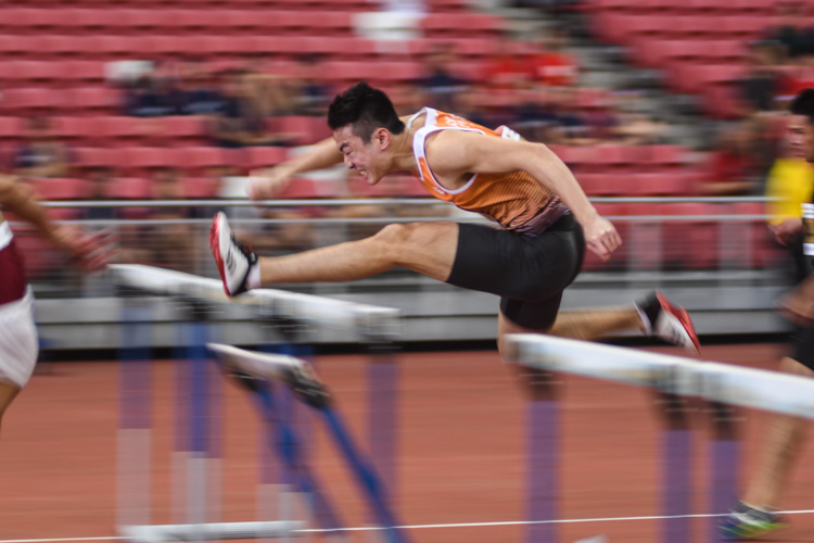 Ang Cheng Xiang rewrote the national record twice in the Men's 110 metres hurdles event with a time of 14.27s in the heats and 14.26s in the final. (Photo 1 © Stefanus Ian/Red Sports)