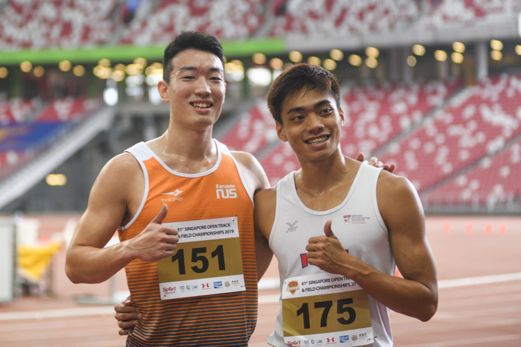 Ang Cheng Xiang celebrating after rewriting the national record twice in the Men's 110 metres hurdles event with a time of 14.27s in the heats and 14.26s in the final. (Photo 1 © Stefanus Ian/Red Sports)