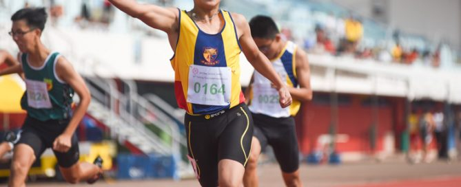 Xavier Tan (#164) of ACS(I) celebrates after clinching the C Division boys' 200m gold in 24.03s. (Photo 2 © Iman Hashim/Red Sports)