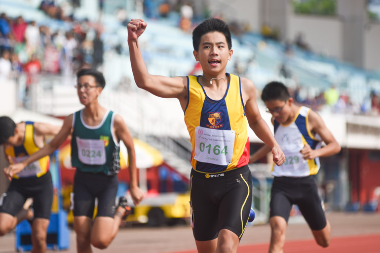 Xavier Tan (#164) of ACS(I) celebrates after clinching the C Division boys' 200m gold in 24.03s. (Photo 1 © Iman Hashim/Red Sports)