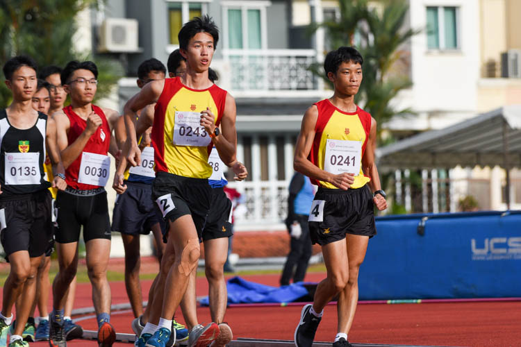 The front pack in the A Division boys' 5000m Racewalk. (Photo 26 © Iman Hashim/Red Sports)