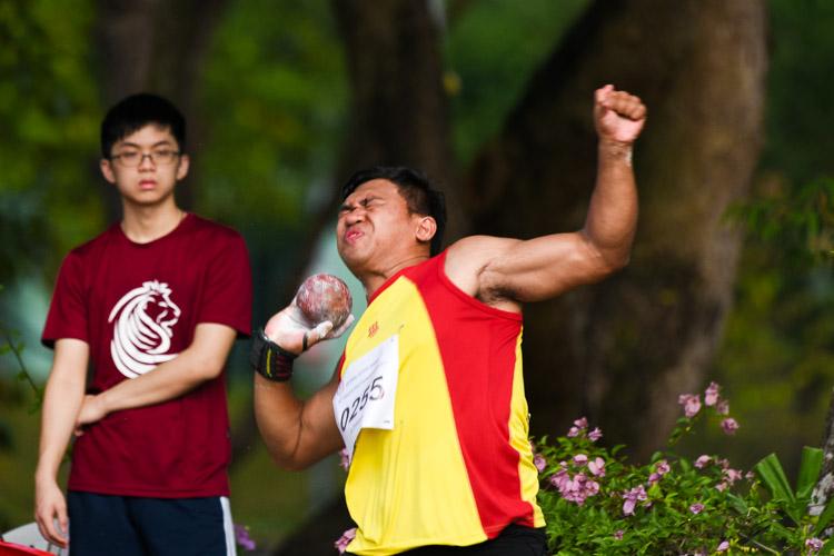 Murali Sham Kumar Shanjie (#255) of HCI won the bronze with 14.93m. (Photo 4 © Iman Hashim/Red Sports)