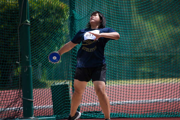 Natalie Chan of Eunoia Junior College placed fourth in the A Division girls' discus with 27.58m. (Photo 21 © Iman Hashim/Red Sports)