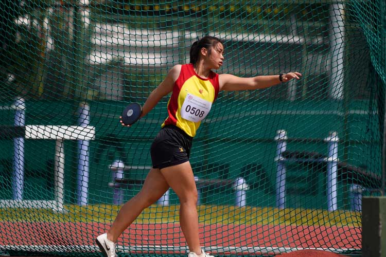 Foo Qi Xin of Hwa Chong Institution claimed the silver in the A Division girls' discus with a throw of 31.47m. (Photo 17 © Iman Hashim/Red Sports)
