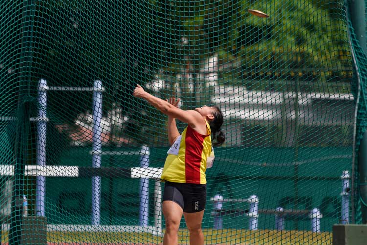 Jasmin Phua of Hwa Chong Institution won the A Division girls' discus gold with the furthest throw of 38.41m. (Photo 16 © Iman Hashim/Red Sports)