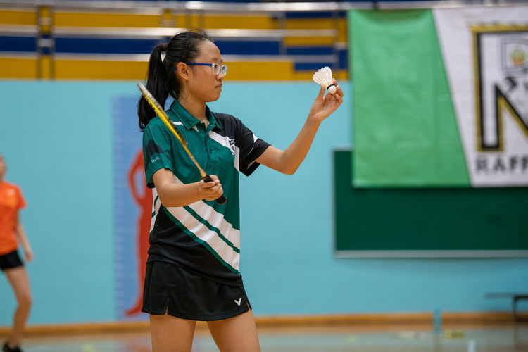 Xiao Ji Han Stella of Raffles Girls' prepares a forehand long serve.