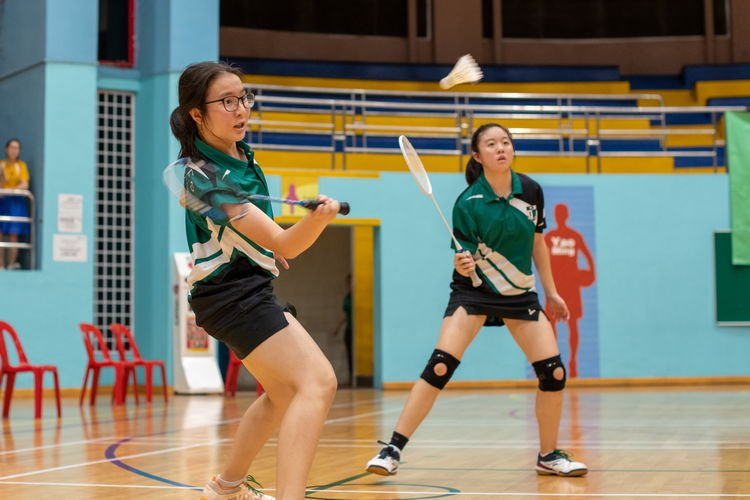 Raffles Girls' 2nd doubles pair (left to right): Aline Mesney and Clarice Hannah Beh Shi Li.
