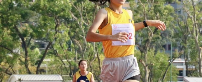 Tan Kylie of Cedar Girls' Secondary clocked a timing of 11:47 seconds during the B division 1500m girls race.