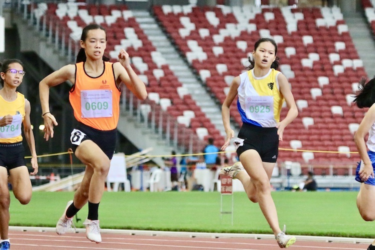 Samantha Theresa Ortega of Singapore Sports School came in first place with a timing of 12.70 seconds.  Followed by Eleana Goh En Ya of Nanyang Girls' High School came in second with a timing 13.01s