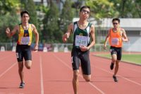 In the lead, Caleb Loy Jun Kai of RI, who won the 400m C Division Boys Finals. Behind him (left to right): Rayan Bagheri Aghdam of ACS(I) and Liau Fong Jun of SSP.