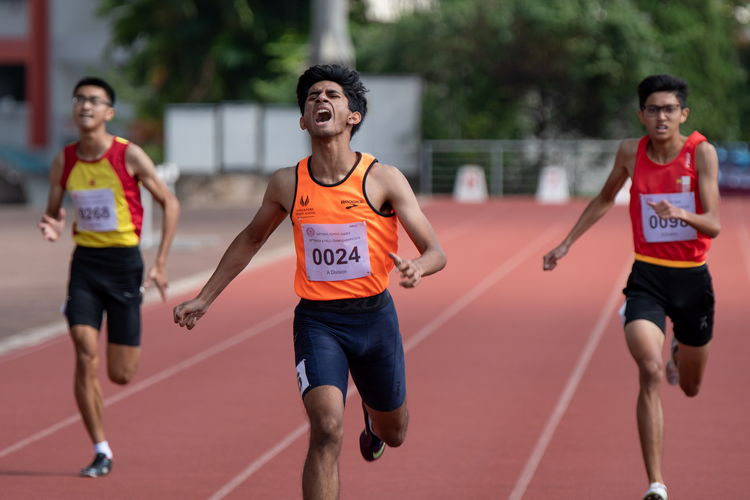 Left to right: Tan Zhi Hao of HCI, Samel Sahil Chetan of SSP, and Kauthar Ahmed Basharahil of NJC. Samel placed second in the 400m A Division Boys' Finals.