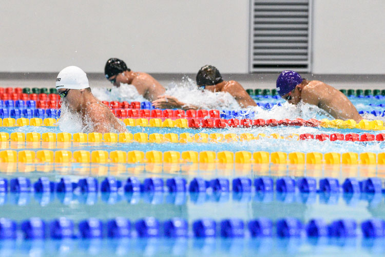 Competitors racing in the A Division boys' 100m Breaststroke final. (Photo 1 © Iman Hashim/Red Sports)