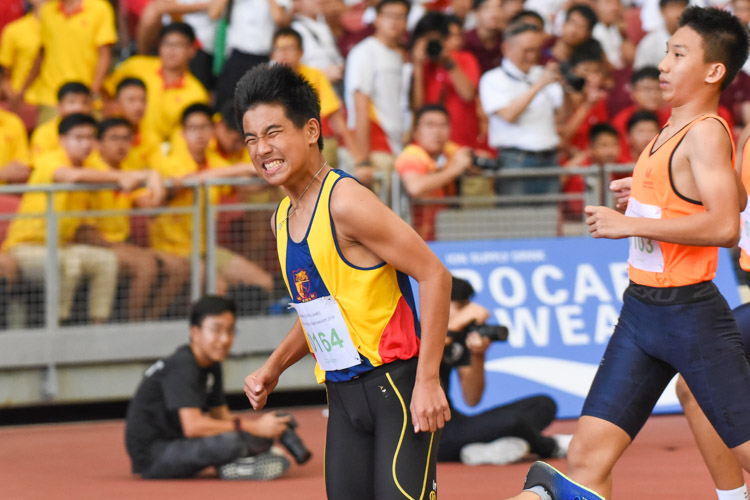 Xavier Tan (#164) of ACS(I) won the C Division boys' 100m final in 11.71s, finishing just eight hundredths of a second ahead of Huang Weijun (#103) of SSP, who clocked 11.79s to finish second. (Photo X © Iman Hashim/Red Sports)