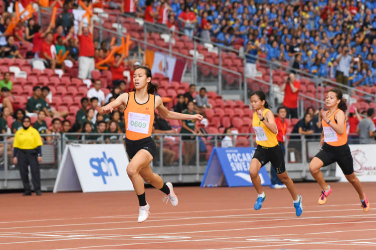 Samantha Theresa Ortega (#609) of Singapore Sports School clinched the C Division girls' 100m gold with a time of 12.70s. (Photo 1 © Iman Hashim/Red Sports)