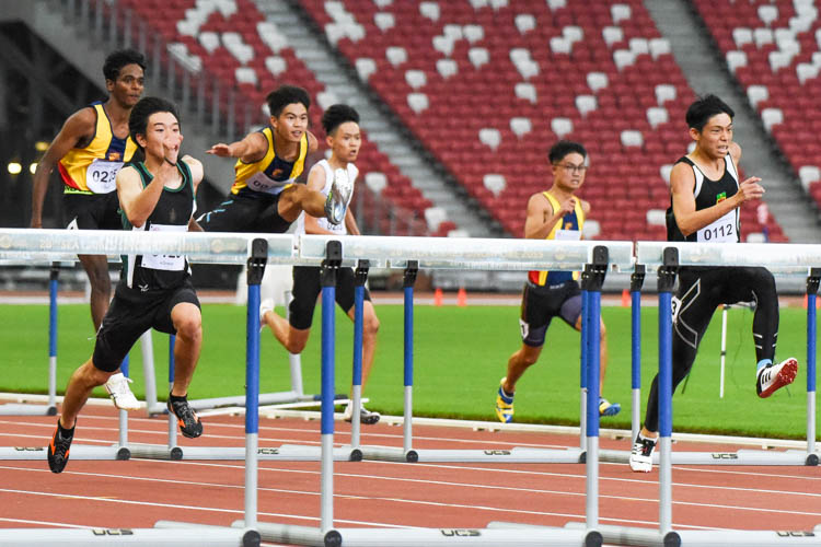 Jered Wong (#112) of RI finished second in 16.15s while Solaimuthu Dhanabalan (#225) of ACJC placed third in 16.19s in the A Division boys' 110m hurdles final. (Photo 1 © Iman Hashim/Red Sports)