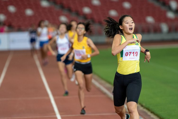 Emily Ong (#719) of Singapore Chinese Girls' School finished first in the B Division Girls' 800m final with a time of 02:24.53.