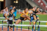 Ashley Tan (#784) of Cedar Girls' Secondary School finished in first place in the C Division Girls' 80m hurdles final with a time of 00:12.56.
