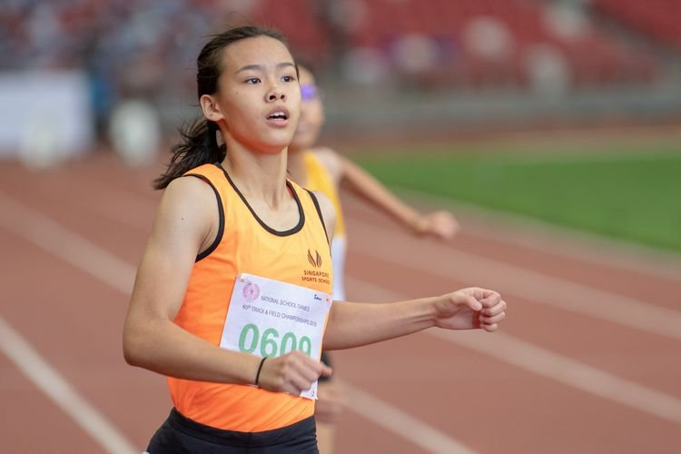 Samantha Theresa Ortega (#609) of Singapore Sports School finished in first place in the C Division Girls' 100m final with a time of 00:12.70.