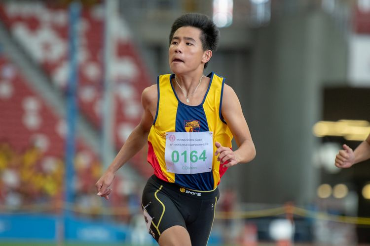 Xavier Tan (#164) of ACS(I) won the C DIvision Boys' 100m final with a time of 00:11.71.