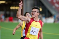 Tedd Toh (#271) of HCI won the A Division Boys' 100m final with a time of 00:11.15.