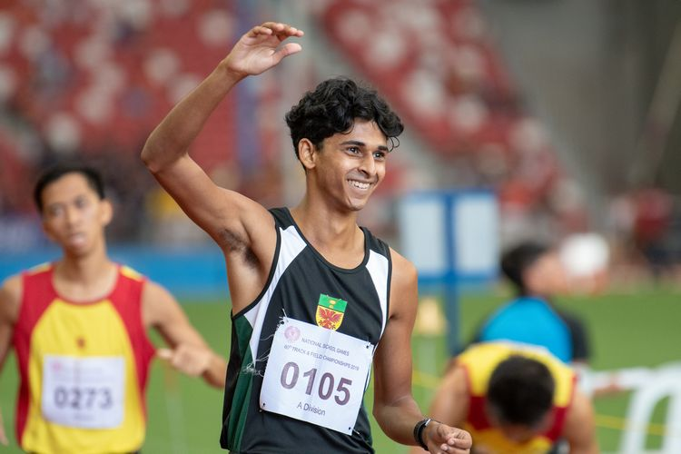 Armand Dhilawala Mohan (#105) of RI was all smiles after his second-place finish in the A Division Boys' 1500m final.
