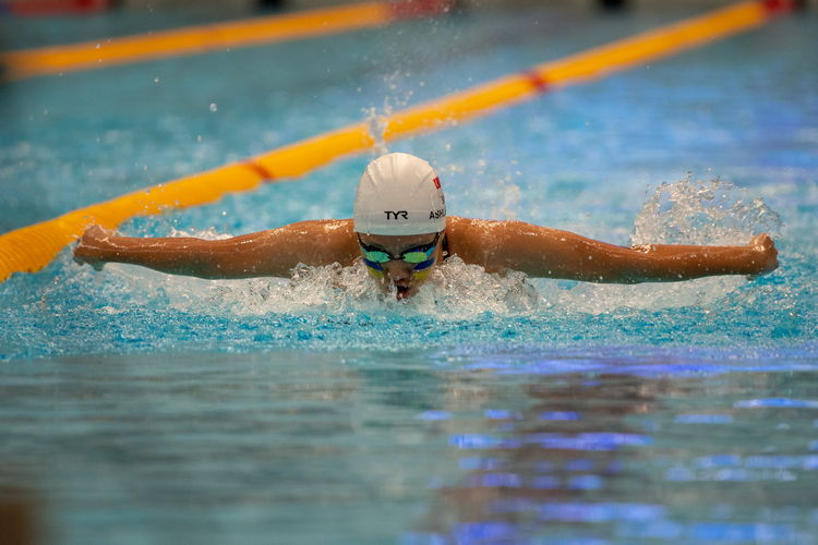 Ashley Lim of MGS set a new meet record by finishing first in the C Division Girls' 200m butterfly final with a time of 2:19.83.
