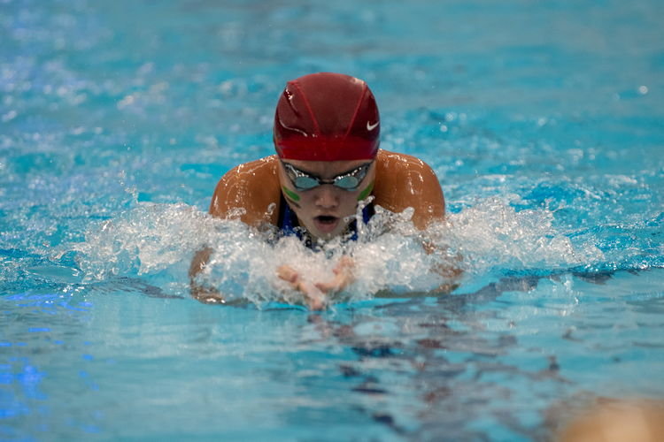 Ricole Ong of RGS finished just behind her schoolmate Sarah Bernard in the girls' C Division 200m breaststroke final, finishing with a 2nd place time of 2:52.39.