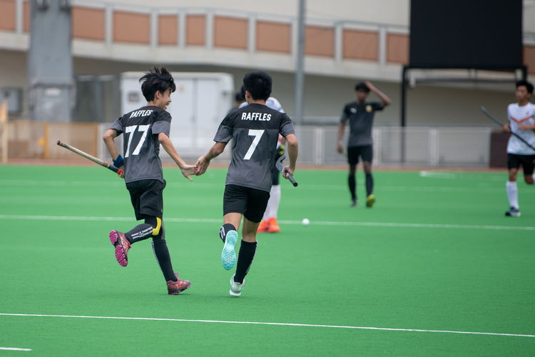 Syaquille Izaad B Jamalluddin (#77) scored a goal off an assist from Ethan Tan (#7). They shared a moment of glee together after the goal.