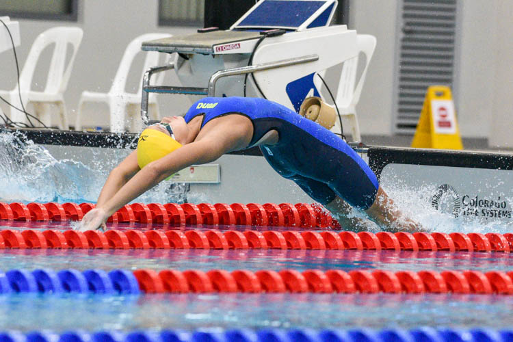 Charla Tan of RGS takes off in the B Division girls' 200m Backstroke final. (Photo 1 © Iman Hashim/Red Sports)