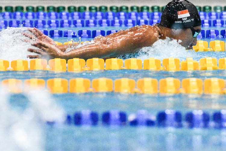 Ong Jung Yi of ACS(I) set a new meet record of 2:01.93 in the A Division boys' 200m butterfly, shattering the previous mark of 2:06.85. (Photo 1 © Iman Hashim/Red Sports)