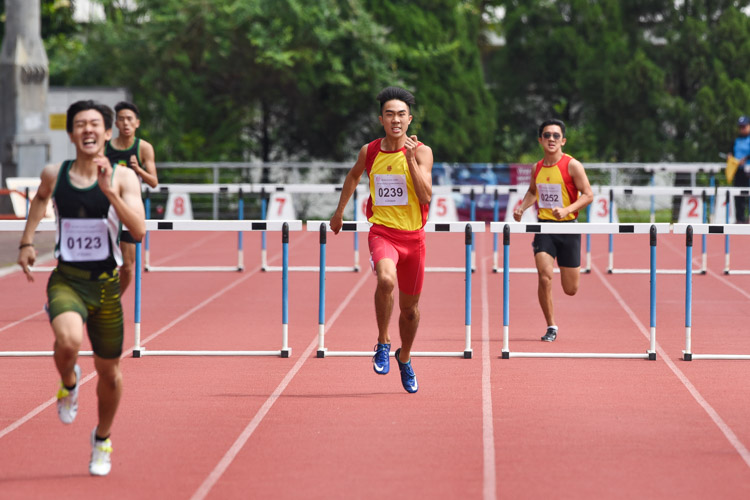 Gerard Emmanuel Loh (#239) of HCI finished with the bronze in the A Division boys' 400m hurdles final in 59.10s. (Photo 1 © Iman Hashim/Red Sports)