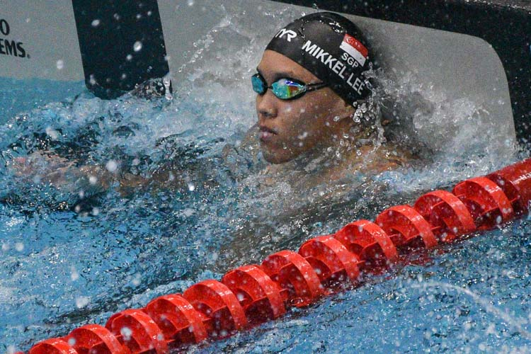 Mikkel Lee of ACS(I) broke the A Division boys' 50m backstroke meet record with a time of 26.60s. (Photo 1 © Iman Hashim/Red Sports)